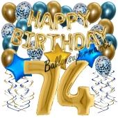 Dekorations-Set mit Ballons zum 74. Geburtstag, Happy Birthday Chrome Blue & Gold, 34 Teile