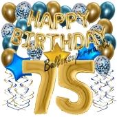 Dekorations-Set mit Ballons zum 75. Geburtstag, Happy Birthday Chrome Blue & Gold, 34 Teile