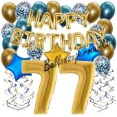 Dekorations-Set mit Ballons zum 77. Geburtstag, Happy Birthday Chrome Blue & Gold, 34 Teile