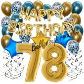Dekorations-Set mit Ballons zum 78. Geburtstag, Happy Birthday Chrome Blue & Gold, 34 Teile