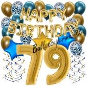 Dekorations-Set mit Ballons zum 79. Geburtstag, Happy Birthday Chrome Blue & Gold, 34 Teile