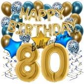 Dekorations-Set mit Ballons zum 80. Geburtstag, Happy Birthday Chrome Blue & Gold, 34 Teile
