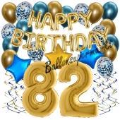 Dekorations-Set mit Ballons zum 82. Geburtstag, Happy Birthday Chrome Blue & Gold, 34 Teile