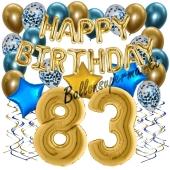 Dekorations-Set mit Ballons zum 83. Geburtstag, Happy Birthday Chrome Blue & Gold, 34 Teile