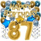 Dekorations-Set mit Ballons zum 87. Geburtstag, Happy Birthday Chrome Blue & Gold, 34 Teile
