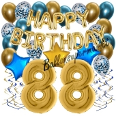 Dekorations-Set mit Ballons zum 88. Geburtstag, Happy Birthday Chrome Blue & Gold, 34 Teile