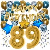 Dekorations-Set mit Ballons zum 89. Geburtstag, Happy Birthday Chrome Blue & Gold, 34 Teile