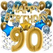 Dekorations-Set mit Ballons zum 90. Geburtstag, Happy Birthday Chrome Blue & Gold, 34 Teile