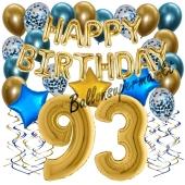 Dekorations-Set mit Ballons zum 93. Geburtstag, Happy Birthday Chrome Blue & Gold, 34 Teile
