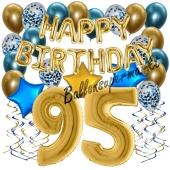 Dekorations-Set mit Ballons zum 95. Geburtstag, Happy Birthday Chrome Blue & Gold, 34 Teile