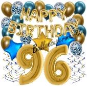 Dekorations-Set mit Ballons zum 96. Geburtstag, Happy Birthday Chrome Blue & Gold, 34 Teile