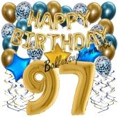 Dekorations-Set mit Ballons zum 97. Geburtstag, Happy Birthday Chrome Blue & Gold, 34 Teile