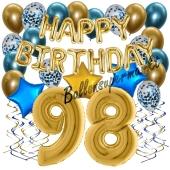 Dekorations-Set mit Ballons zum 98. Geburtstag, Happy Birthday Chrome Blue & Gold, 34 Teile