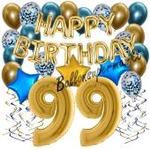 Dekorations-Set mit Ballons zum 99. Geburtstag, Happy Birthday Chrome Blue & Gold, 34 Teile