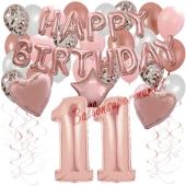 Dekorations-Set mit Ballons zum 11. Geburtstag, Happy Birthday Dream, 42 Teile