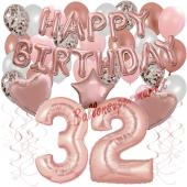 Dekorations-Set mit Ballons zum 32. Geburtstag, Happy Birthday Dream, 42 Teile