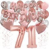 Dekorations-Set mit Ballons zum 71. Geburtstag, Happy Birthday Dream, 42 Teile