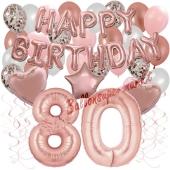 Dekorations-Set mit Ballons zum 80. Geburtstag, Happy Birthday Dream, 42 Teile