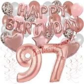Dekorations-Set mit Ballons zum 97. Geburtstag, Happy Birthday Dream, 42 Teile