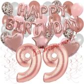 Dekorations-Set mit Ballons zum 99. Geburtstag, Happy Birthday Dream, 42 Teile