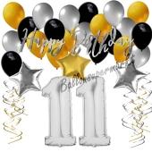 11. Geburtstag Dekorations-Set mit Ballons Happy Birthday Glamour, 34 Teile