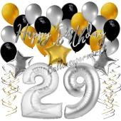 29. Geburtstag Dekorations-Set mit Ballons Happy Birthday Glamour, 34 Teile