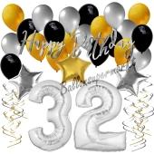 32. Geburtstag Dekorations-Set mit Ballons Happy Birthday Glamour, 34 Teile
