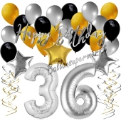 36. Geburtstag Dekorations-Set mit Ballons Happy Birthday Glamour, 34 Teile