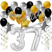 37. Geburtstag Dekorations-Set mit Ballons Happy Birthday Glamour, 34 Teile