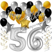 56. Geburtstag Dekorations-Set mit Ballons Happy Birthday Glamour, 34 Teile
