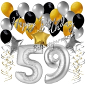 59. Geburtstag Dekorations-Set mit Ballons Happy Birthday Glamour, 34 Teile