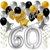 60. Geburtstag Dekorations-Set mit Ballons Happy Birthday Glamour, 34 Teile