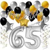 65. Geburtstag Dekorations-Set mit Ballons Happy Birthday Glamour, 34 Teile