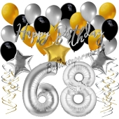68. Geburtstag Dekorations-Set mit Ballons Happy Birthday Glamour, 34 Teile