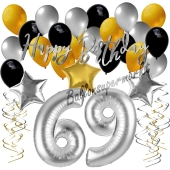 69. Geburtstag Dekorations-Set mit Ballons Happy Birthday Glamour, 34 Teile
