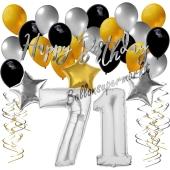 71. Geburtstag Dekorations-Set mit Ballons Happy Birthday Glamour, 34 Teile