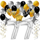 77. Geburtstag Dekorations-Set mit Ballons Happy Birthday Glamour, 34 Teile