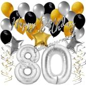 80. Geburtstag Dekorations-Set mit Ballons Happy Birthday Glamour, 34 Teile