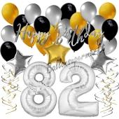 82. Geburtstag Dekorations-Set mit Ballons Happy Birthday Glamour, 34 Teile
