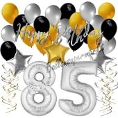 85. Geburtstag Dekorations-Set mit Ballons Happy Birthday Glamour, 34 Teile