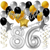 86. Geburtstag Dekorations-Set mit Ballons Happy Birthday Glamour, 34 Teile