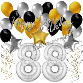 88. Geburtstag Dekorations-Set mit Ballons Happy Birthday Glamour, 34 Teile