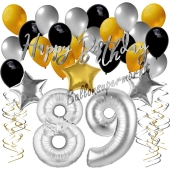 89. Geburtstag Dekorations-Set mit Ballons Happy Birthday Glamour, 34 Teile