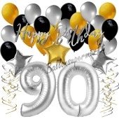 90. Geburtstag Dekorations-Set mit Ballons Happy Birthday Glamour, 34 Teile