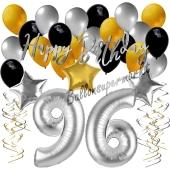 96. Geburtstag Dekorations-Set mit Ballons Happy Birthday Glamour, 34 Teile