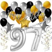 97. Geburtstag Dekorations-Set mit Ballons Happy Birthday Glamour, 34 Teile