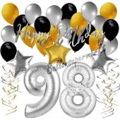 98. Geburtstag Dekorations-Set mit Ballons Happy Birthday Glamour, 34 Teile