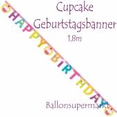 Cupcake Partybanner zum Geburtstag
