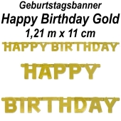 Geburtstagsbanner Happy Birthday Gold
