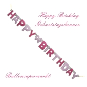 Geburtstagsbanner Happy Birthday, pink